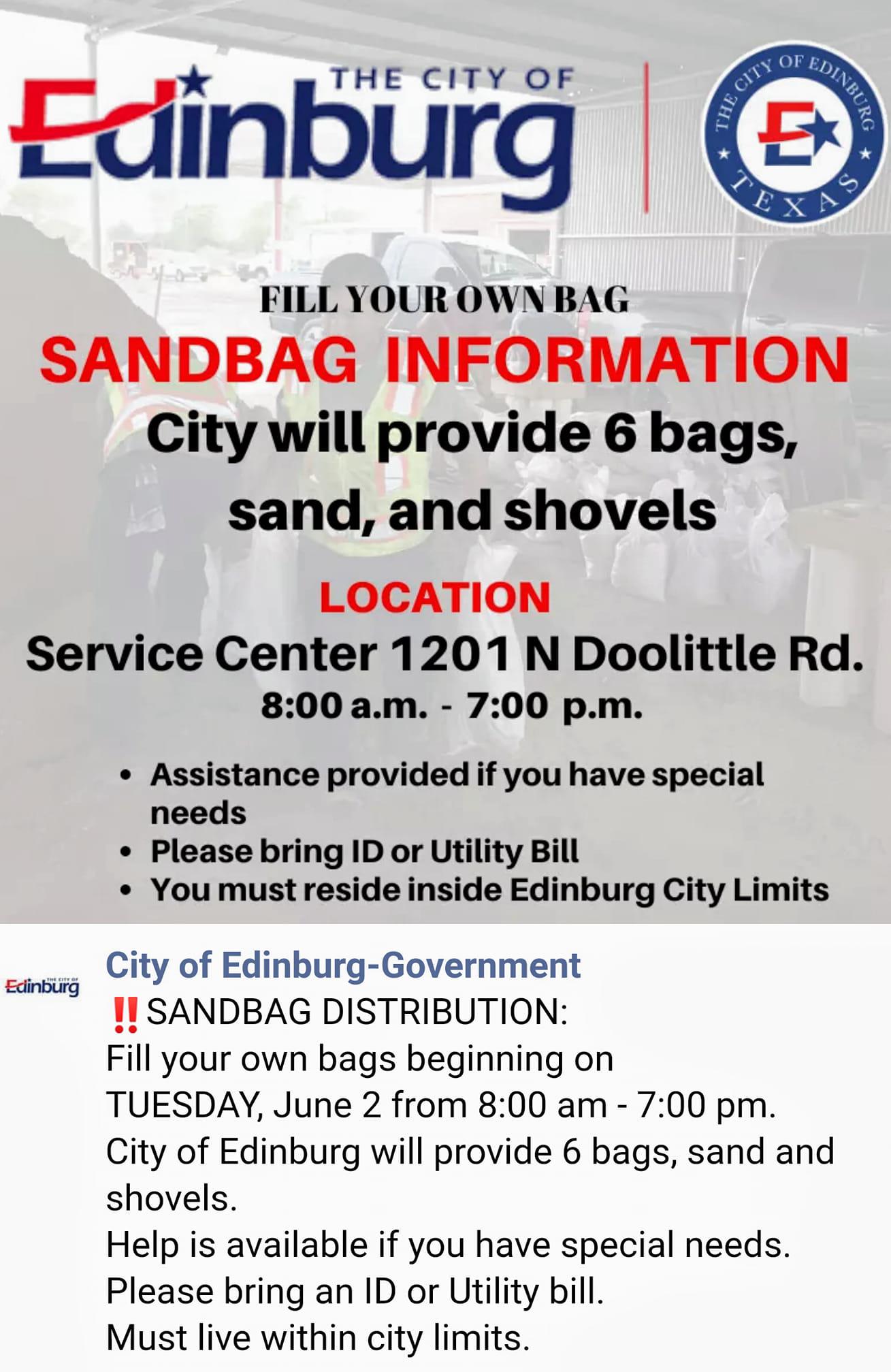 Sandbag Pickup Info 060920